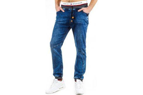 BASIC Pánské sportovní modré kalhoty (ux0594) velikost: S, odstíny barev: modrá Pánské kalhoty