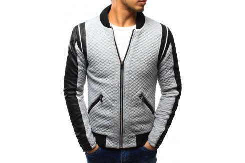 BASIC Šedá bunda jaro/podzim (tx1203) velikost: S, odstíny barev: šedá Pánské bundy a kabáty