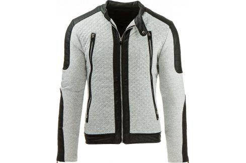 BASIC Šedá bunda jaro/podzim (tx1206) velikost: 2XL, odstíny barev: šedá Pánské bundy a kabáty