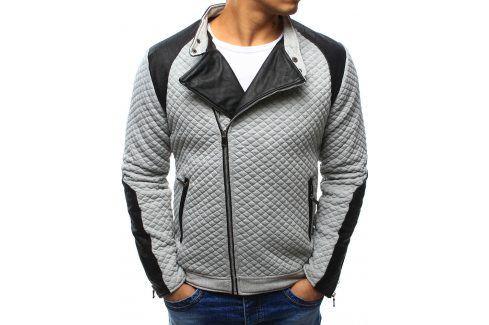 BASIC Šedá bunda jaro/podzim (tx1207) velikost: 2XL, odstíny barev: šedá Pánské bundy a kabáty