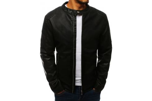 BASIC Pánská černá koženková bunda (tx2708) Velikost: M Pánské bundy a kabáty