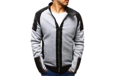 BASIC Šedá bunda jaro/podzim (tx1215) velikost: 2XL, odstíny barev: šedá Pánské bundy a kabáty