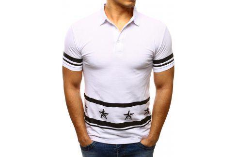 BASIC Bílé polo tričko (px0077) velikost: S, odstíny barev: bílá Pánská trička