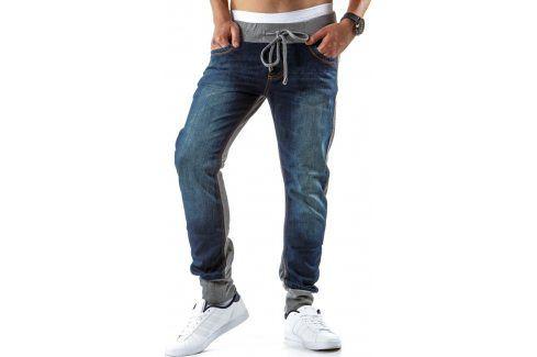BASIC Pánské modro-šedé džíny joggery (ux0280) velikost: 29, odstíny barev: modrá Pánské kalhoty