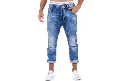 BASIC Pánské džíny 7/8 (ux0333) velikost: 30, odstíny barev: modrá Pánské kalhoty