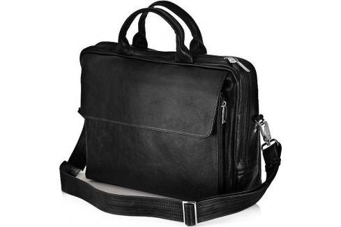 SOLIER Kožená černá taška na notebook (SL30 BLACK) Velikost: univerzální Pánské tašky