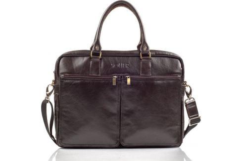 SOLIER Hnědá taška na notebook (SL01 BROWN) Velikost: univerzální Pánské tašky