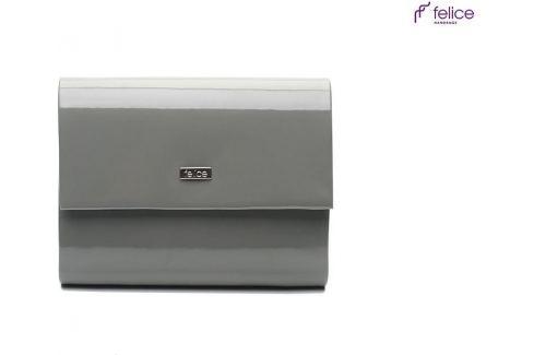 Lakované šedé psaníčko FELICE (F14 GREY SHINY) Velikost: univerzální Kabelky