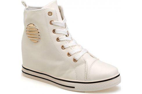 Bílé kotníkové dámské tenisky SS-1559 velikost: 38, odstíny barev: bílá Dámská obuv