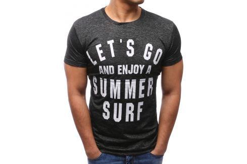 BASIC Antracitové tričko s potiskem (rx2675) velikost: M, odstíny barev: šedá Pánská trička