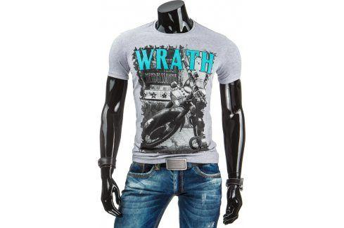 BASIC Pánské šedé tričko s potiskem (rx1648) velikost: 2XL, odstíny barev: šedá Pánská trička