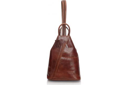 VERA PELLE Dámský kožený hnědý batoh (Pl2b) Velikost: univerzální Batohy