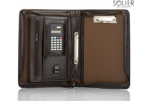 PRAKTICKÉ HNĚDÉ POUZDRO NA DOKUMENTY S KALKULAČKOU SOLIER (ST02 BROWN) Velikost: univerzální Pánské tašky