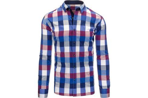BASIC Pánská károvaná fialovo-modrá košile (dx1188) Velikost: 2XL Pánské košile