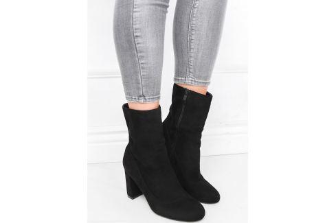 BASIC Dámské černé semišové boty - 1074BUT Velikost: 39 Dámská obuv