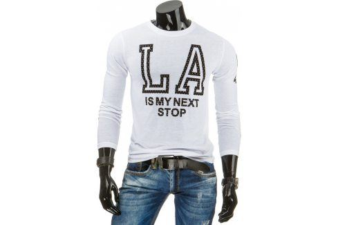 BASIC Pánské bílé tričko s dlouhým rukávem (lx0312) velikost: 2XL, odstíny barev: bílá Pánská trička
