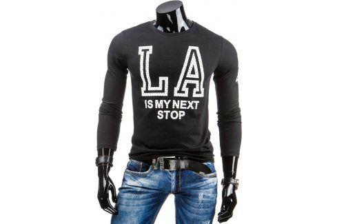BASIC Pánské černé tričko s dlouhým rukávem (lx0313) velikost: 2XL, odstíny barev: černá Pánská trička