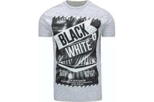 BASIC Pánské šedé tričko s potiskem (rx1869) velikost: 2XL, odstíny barev: šedá Pánská trička
