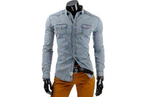BASIC Pánská džínová hnědá košile (dx0871) velikost: 2XL, odstíny barev: modrá Pánské košile