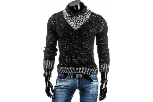 BASIC Pánský černý svetr (wx0701) velikost: M, odstíny barev: černá Pánské svetry a roláky