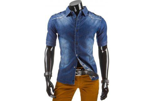 BASIC Pánská džínová košile s krátkým rukávem (kx0613) velikost: M, odstíny barev: modrá Pánské košile