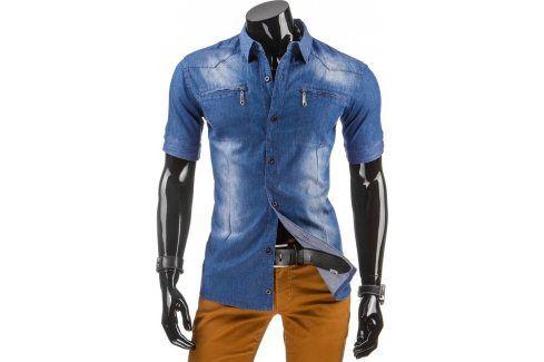 BASIC Pánská džínová košile s krátkým rukávem (kx0615) velikost: L, odstíny barev: modrá Pánské košile