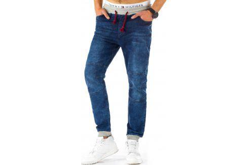 BASIC Pánské modré tepláky (ux0449) velikost: S, odstíny barev: modrá Pánské kalhoty